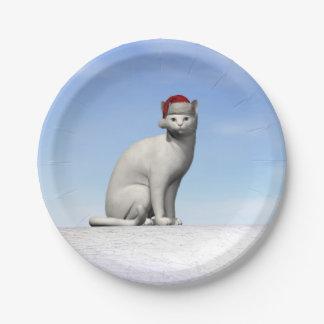 Weiße Katze für Weihnachten - 3D übertragen Pappteller 17,8 Cm