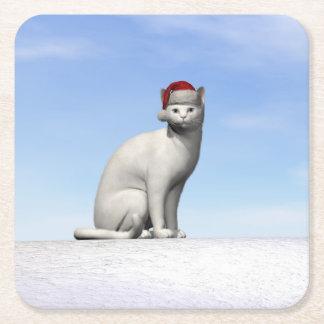 Weiße Katze für Weihnachten - 3D übertragen Rechteckiger Pappuntersetzer