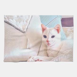 Weiße Katze Geschirrtuch