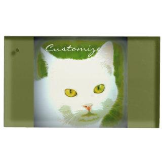 weiße Katze Platzkartenhalter