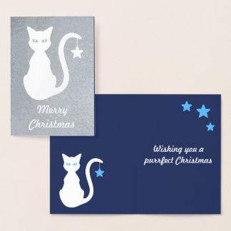 Weiße Katzen-Folien-Weihnachtskarte Folienkarte