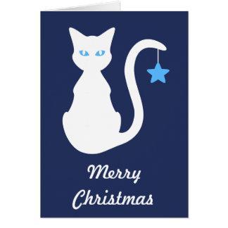 Weiße Katzen-Weihnachtskarte Grußkarte