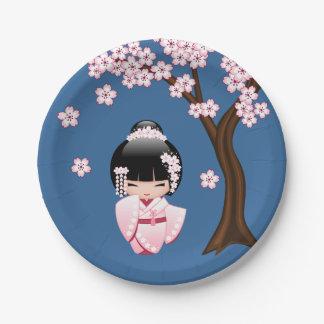 Weiße Kimono Kokeshi Puppe - niedliches Pappteller