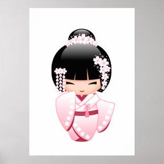 Weiße Kimono Kokeshi Puppe - niedliches Poster