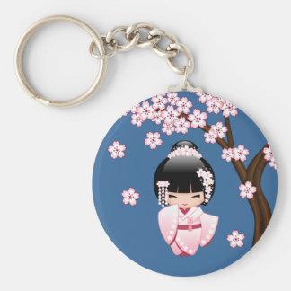 Weiße Kimono Kokeshi Puppe - niedliches Schlüsselanhänger