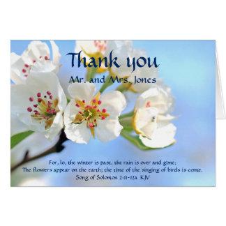 Weiße Kirschblüten-christliche Hochzeit danken Karte