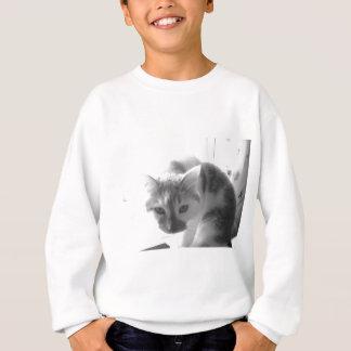 Weiße Kitty-Katze/Schwarz-u. Weiß-Foto Sweatshirt