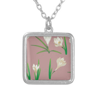 Weiße Krokus-Blumen Versilberte Kette