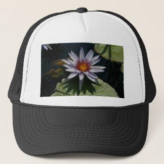 Weiße lila Lotos-Wasserlilie Truckerkappe