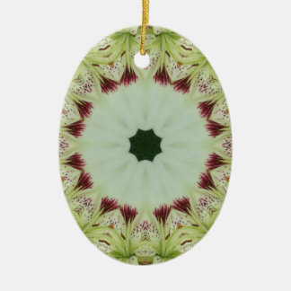 Weiße Lilie 16 Punkt-Stern-Kaleidoskop Keramik Ornament