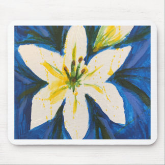 Weiße Lilie auf blauer Sammlung durch Jane Mousepad