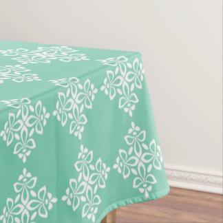 Weiße Lilie auf Winter-Himmel-Blau Tischdecke