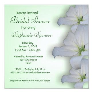 Weiße Lilien-Brautparty-Einladung Quadratische 13,3 Cm Einladungskarte