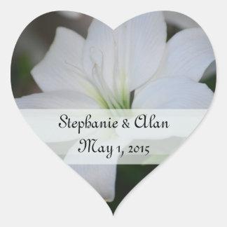 Weiße Lilien-Hochzeits-Aufkleber Herz-Aufkleber