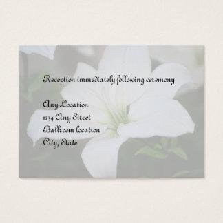 Weiße Lilien-Hochzeits-Empfangs-Karten Visitenkarte