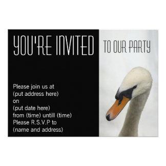 Weiße Makroschwan-Party Einladung