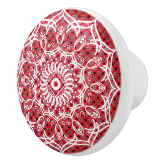 Weiße Mandala auf Mosaik-Rot-Muster Keramikknauf