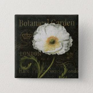 Weiße Mohnblumen-Blüte Quadratischer Button 5,1 Cm