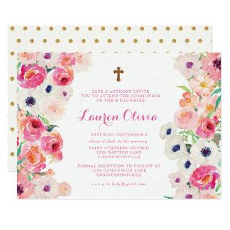 Weiße Mohnblumen und rosa Karte