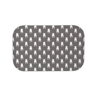 Weiße Mops-Silhouetten auf grauem Hintergrund Brotdose