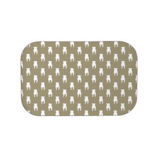 Weiße Mops-Silhouetten auf kakifarbigem Brotdose