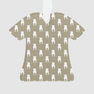 Weiße Mops-Silhouetten auf kakifarbigem Ornament