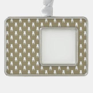 Weiße Mops-Silhouetten auf kakifarbigem Rahmen-Ornament Silber
