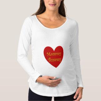 Weiße Mutterschaftsspitze mit Mama-Bauchgraphik Schwangerschafts T-Shirt
