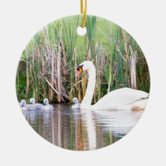 Weiße Mutterschwanschwimmen mit Küken Rundes Keramik Ornament