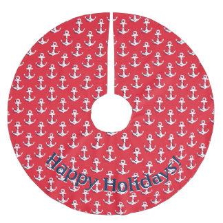 Weiße nautischanker auf roter kundengerechter polyester weihnachtsbaumdecke