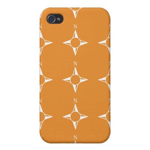 Weiße Orange des rechtweisend Nord iPhone 4/4S Hüllen