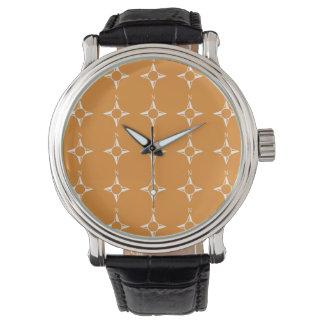 Weiße Orange des rechtweisend Nord Armbanduhr