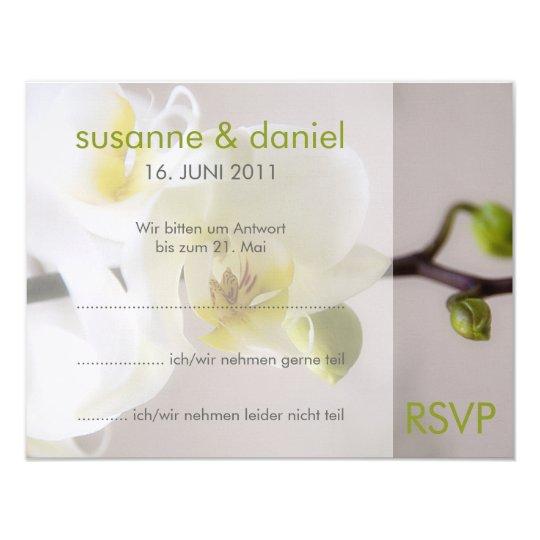 Weiße Orchidee • Antwortkarte zur Hochzeit 10,8 X 14 Cm Einladungskarte