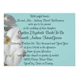 Weiße Orchidee auf Juwel-Blau 16,5 X 22,2 Cm Einladungskarte