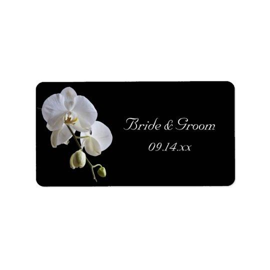 Weiße Orchidee auf schwarzem Gastgeschenk Adressaufkleber