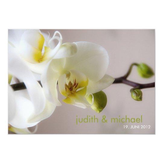 Weiße Orchidee • Hochzeits-Einladung 12,7 X 17,8 Cm Einladungskarte