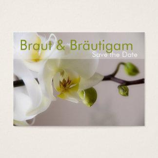 Weisse Orchidee • Save the Date MiniKarten Jumbo-Visitenkarten