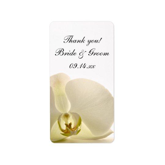 Weiße Orchideen-Blumen-Hochzeit danken Ihnen, Adressaufkleber