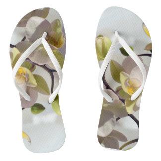 Weiße Orchideen Flip Flops