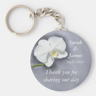 Weiße Orchideen-Gastgeschenk Schlüsselanhänger