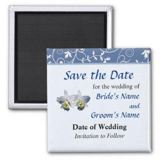 Weiße Orchideen-hawaiisches Hochzeits-Lied Save th Quadratischer Magnet