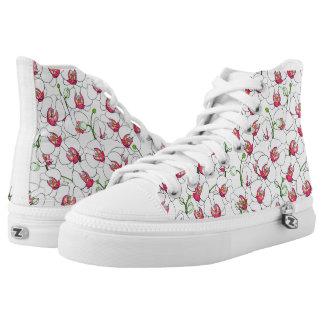 Weiße Orchideen Hoch-geschnittene Sneaker