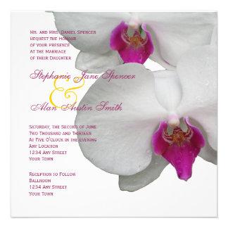 Weiße Orchideen-Hochzeits-Einladung