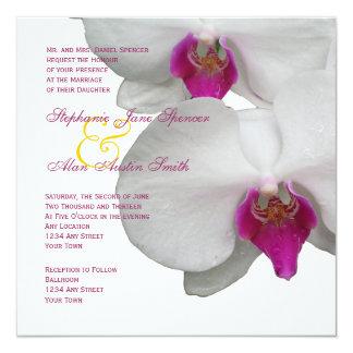 Weiße Orchideen-Hochzeits-Einladung Quadratische 13,3 Cm Einladungskarte