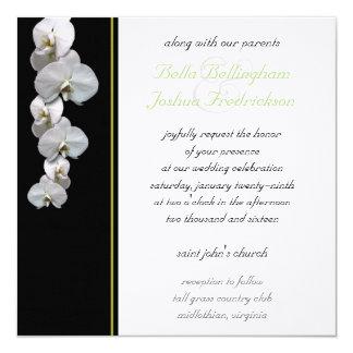 Weiße Orchideen-Hochzeits-Einladung 5.25x5.25 Karte