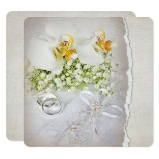 Weiße Orchideen-Hochzeits-Einladung Karte
