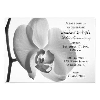 Weiße Orchideen-Hochzeits-Jahrestags-Party Karte