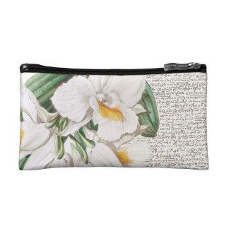 Weiße Orchideen-Kalligraphie Makeup-Tasche