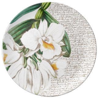 Weiße Orchideen-Kalligraphie Porzellanteller