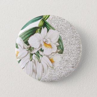 Weiße Orchideen-Kalligraphie Runder Button 5,7 Cm